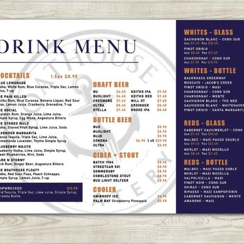 Drink/cocktail menu for waterfront restaurant