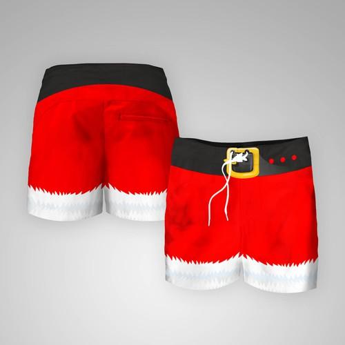Christmas themed beach board shorts