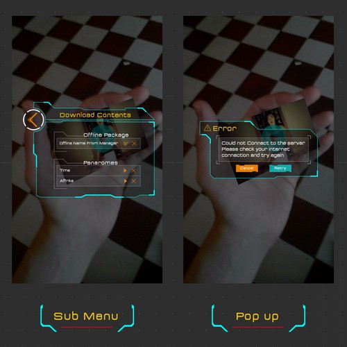 Futuristic UI for augmented reality app