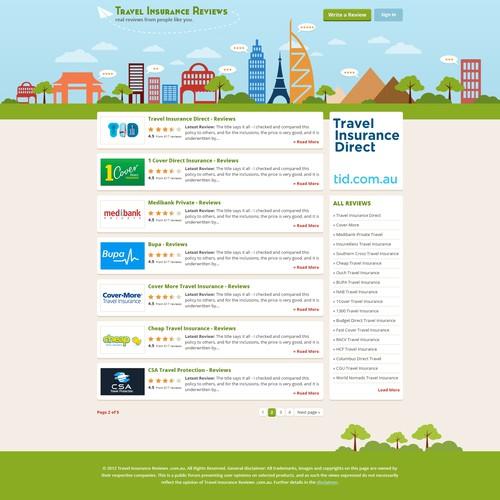 Create the next website design for Travel Insurance Reviews