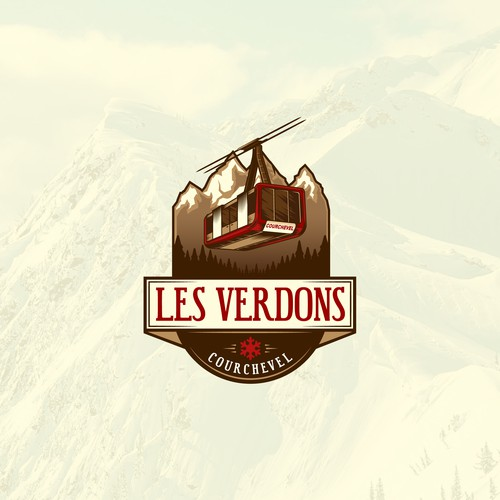 Logo Design for restaurant on the snowy mountains of Courchevel featuring a cable car