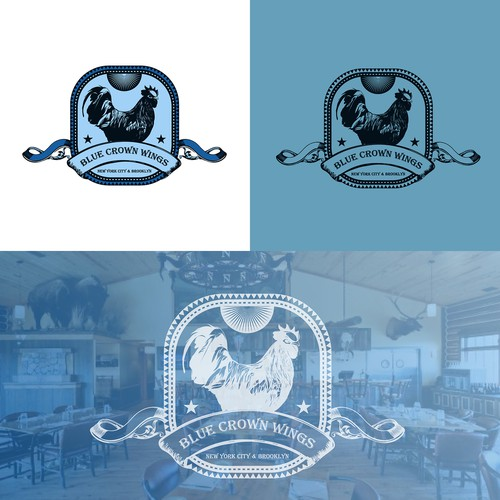 Blue crown wings Resturant logo design
