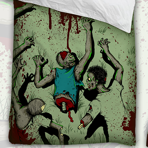 Zombie attack bed linen design