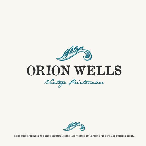 Logo for vintage printmaker Orion Wells