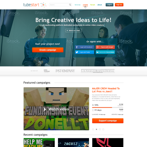 Create a responsive design for a crowdfunding plaform