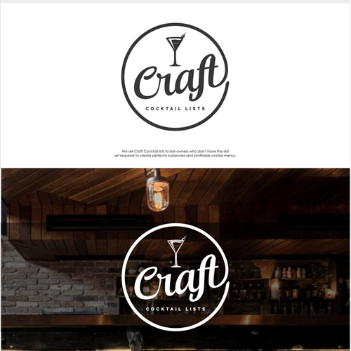Create a logo for an online business selling Craft Cocktail Menus to bar owners.