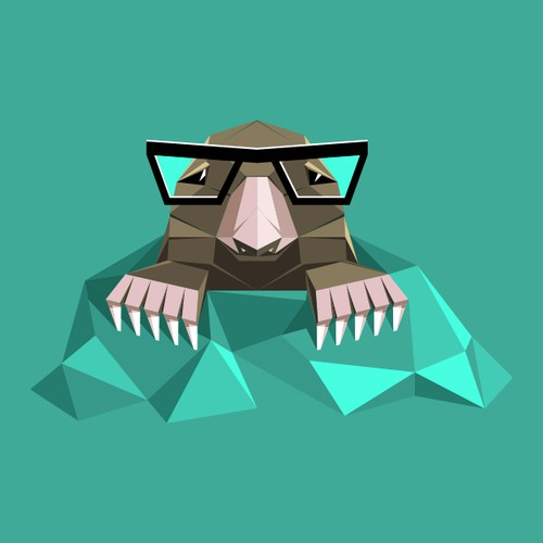 Origami mole with eyeglasses