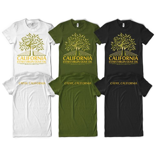 create a t-shirt promoting California Extra Virgin olive oil into a 'must own'