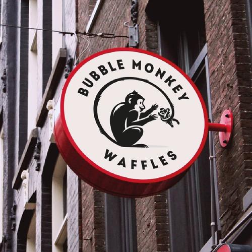 Monkey Logo for a Waffle Restaurant
