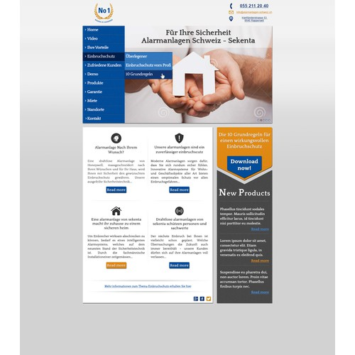 Redesign of existing website www.alarmanlagen-schweiz.ch