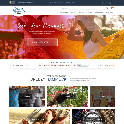 Web Design Create a Clean, Sharp, and User-Friendly eCommerce Store for Breezy Hammocks