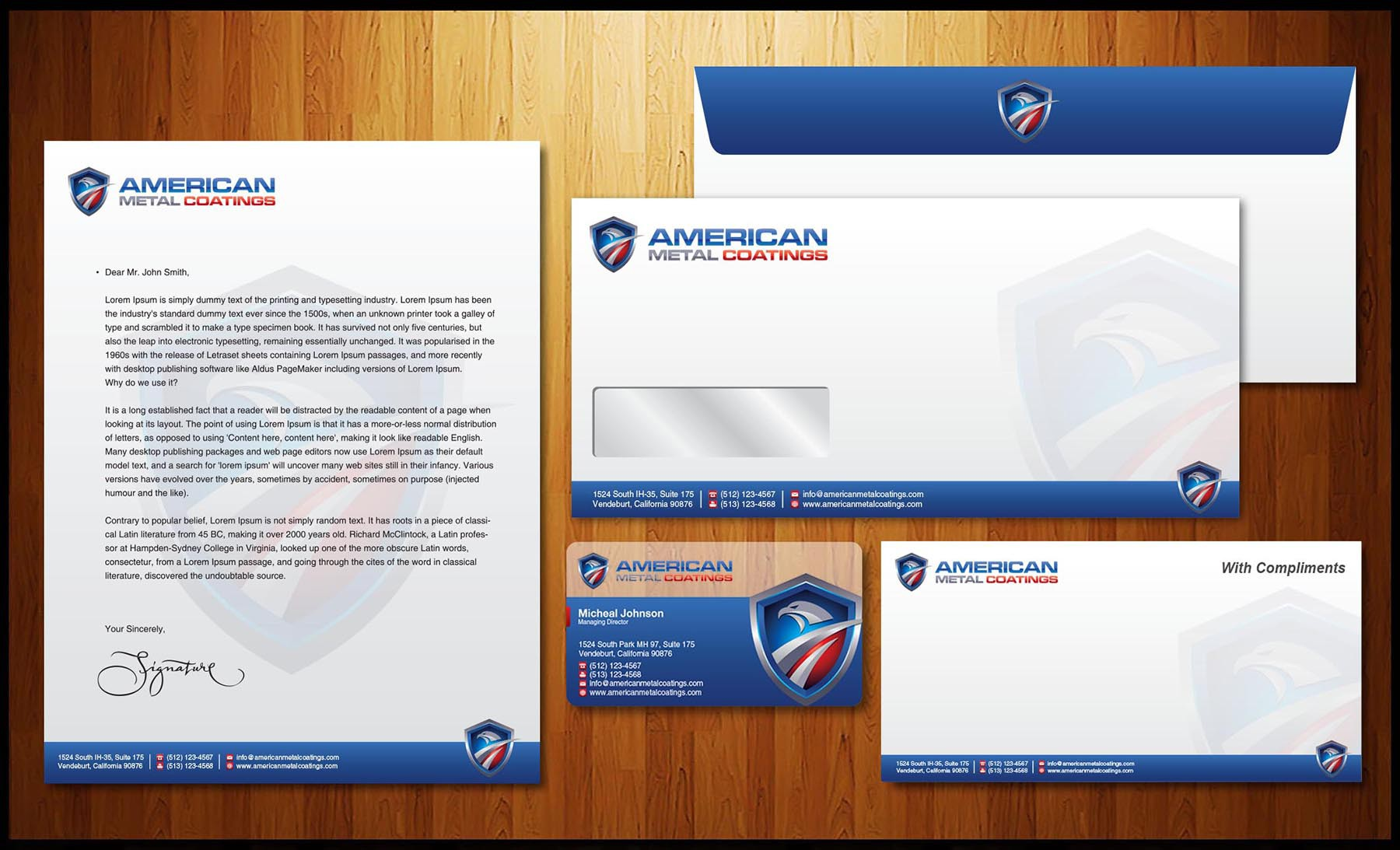 Create the next stationery for American Metal Coatings