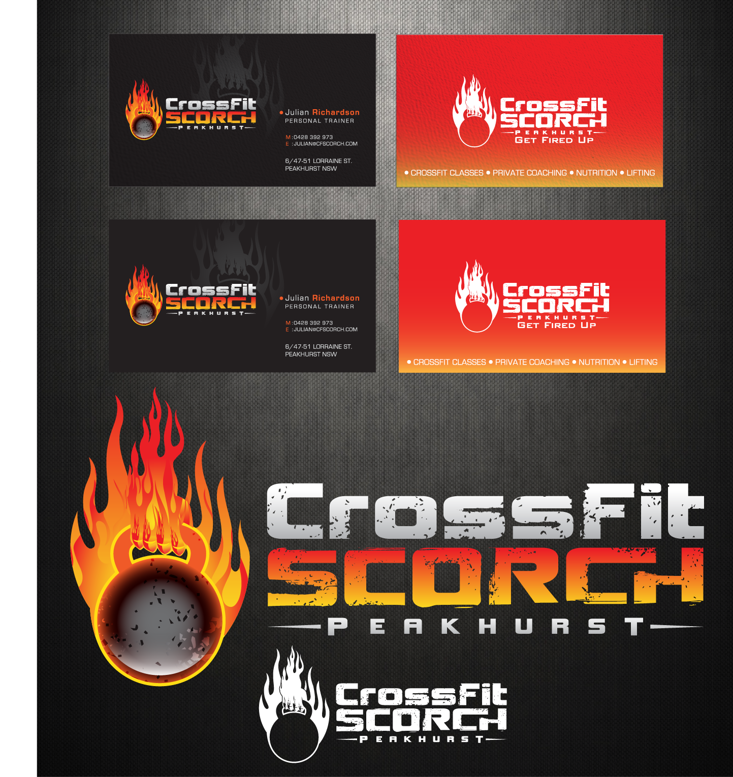 Create the next logo and business card for CrossFit Scorch