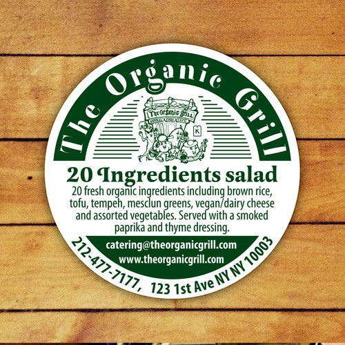 """Round Sticker Labels for """"The Organic Grill"""" NY"""