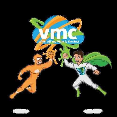Cartoony superheroes for company mascot