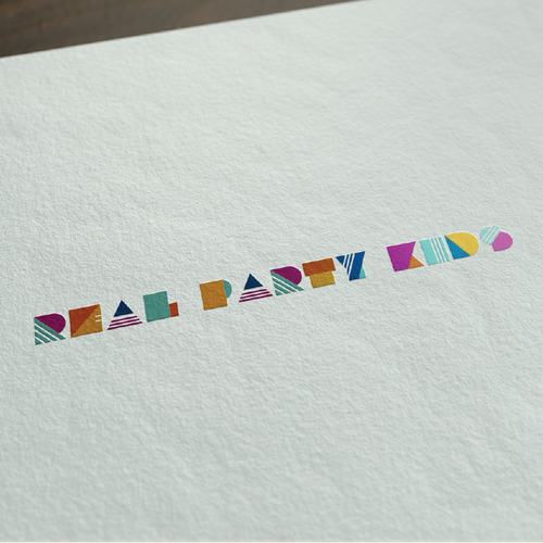 fun colourful kids party logo