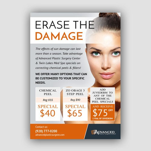 Elegant and modern flyer for Advanced Plastic  Surgery Center
