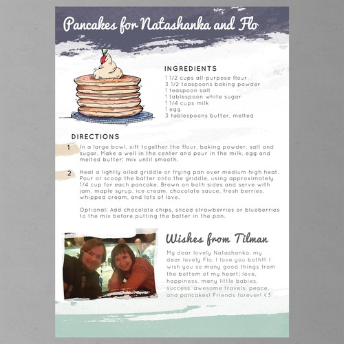 A Gift of Love - Wedding Recipe Book Page