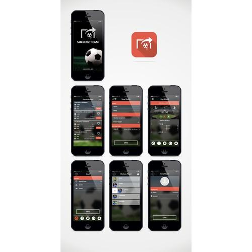 Create a new App design for the social soccer network, SoccerStream