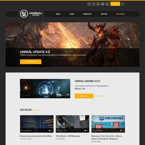 Unreal Engine 4 Landing Page Design