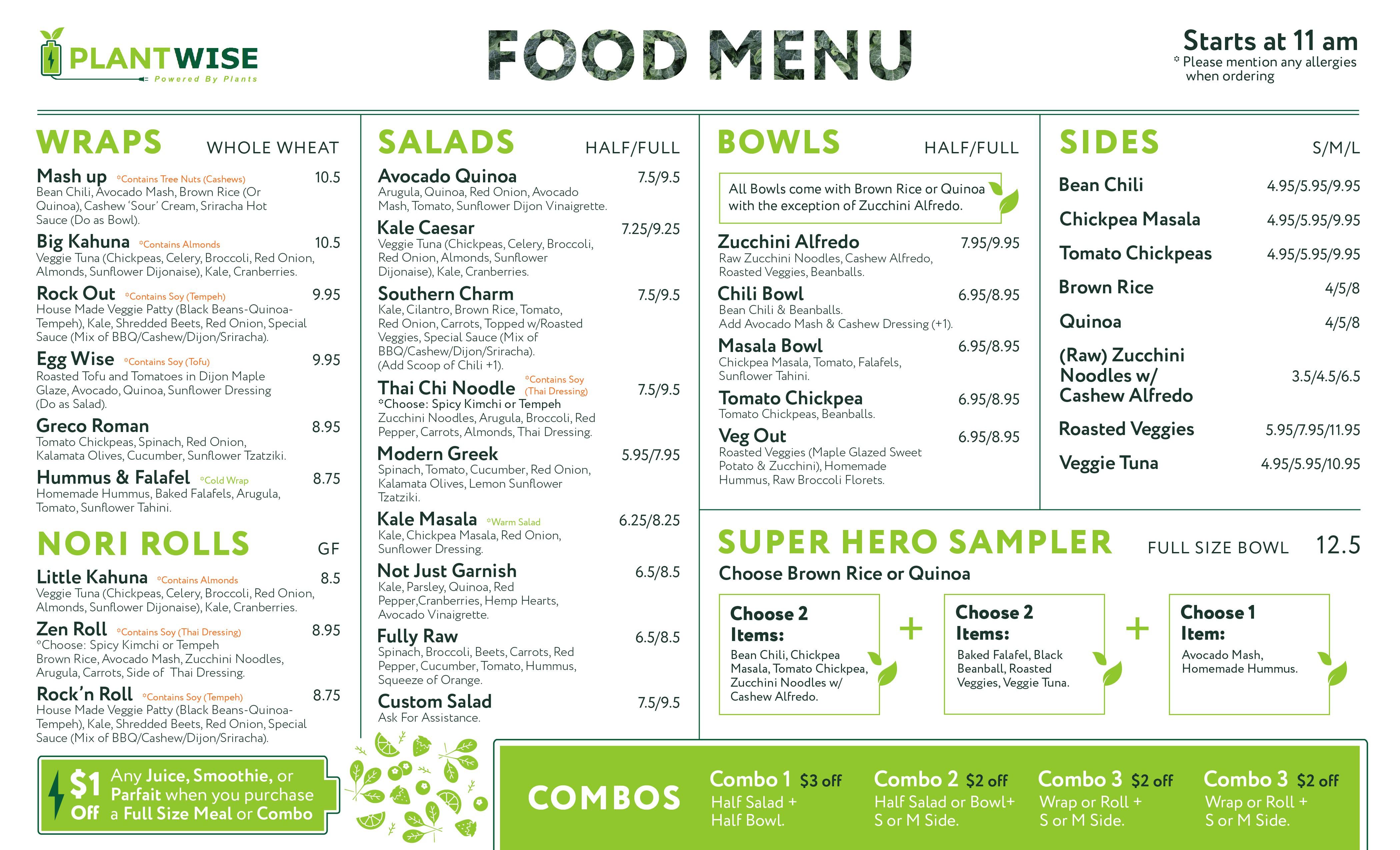 Vegan Restaurant; Plant Wise Needs Menu Update