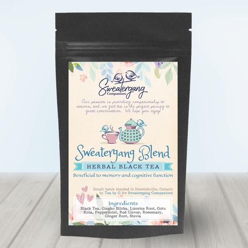 Herbal Black Tea Pouch Label Design