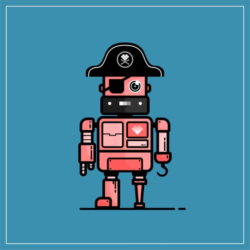 Mascot Design for Just Social (Pirate - Retro Bot)