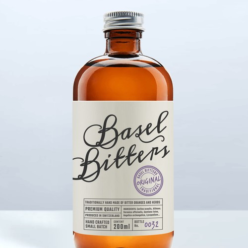 Basel Bitters label design