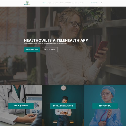 Cutting edge new website for HealthOwl a new online doctor consultation app