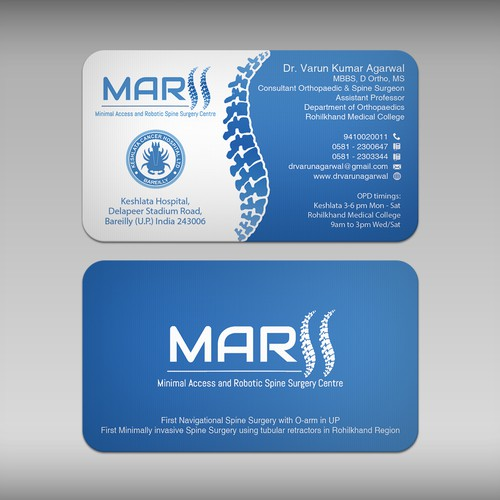 design a visiting card for spine surgeon