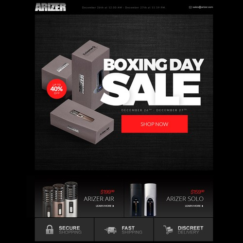 Arizer Email Promotion - Boxing Day Sale