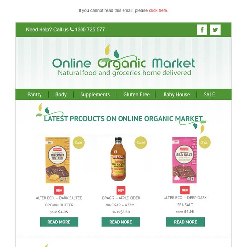 Email Design - Email newsletter template for Online Organic Market