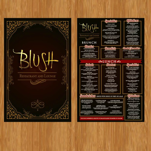 Menu design for bar