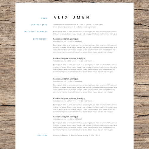 Create the design and update a resume for a fashion professional.
