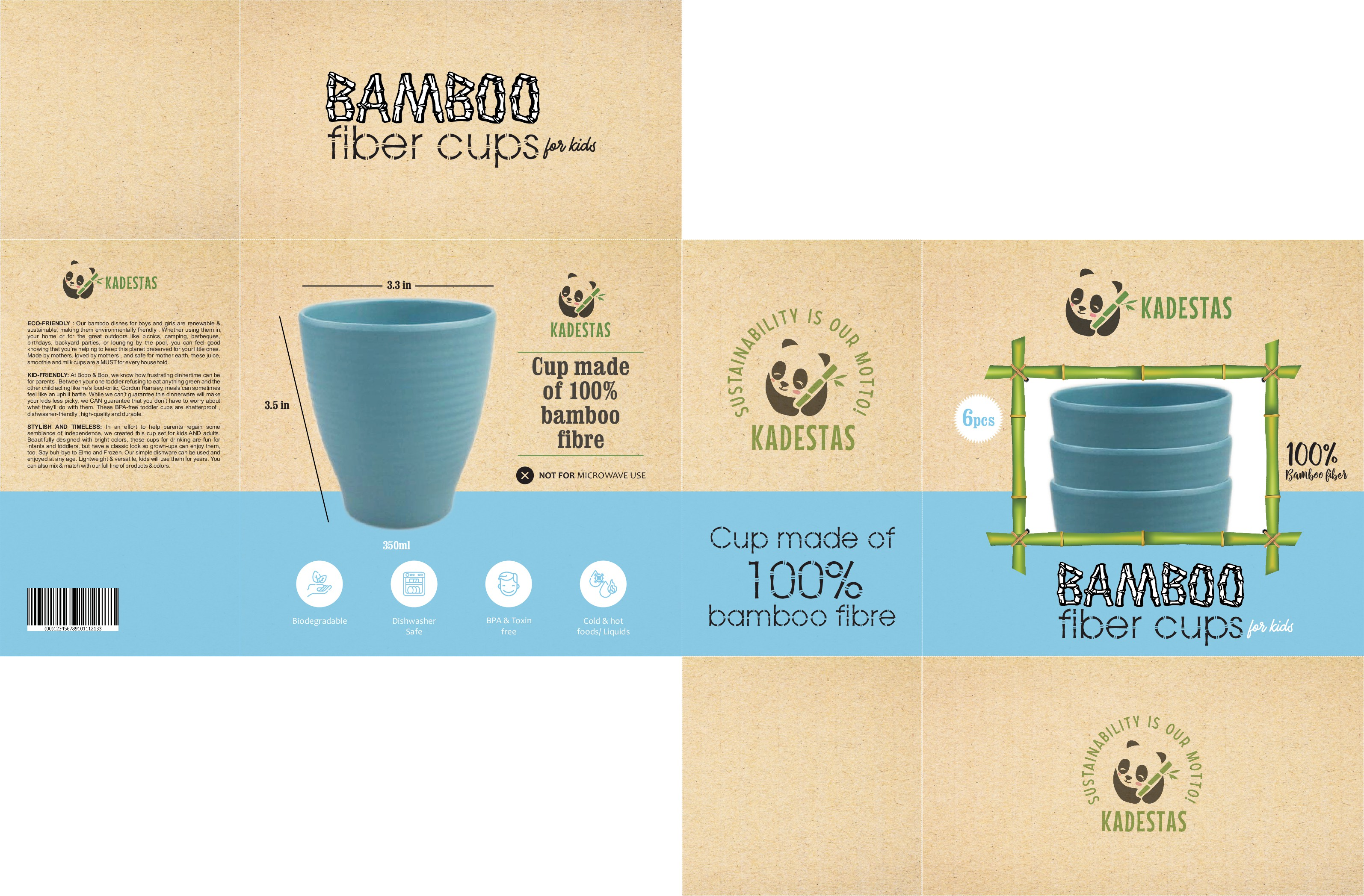 Bamboo fibre cups packaging artwork