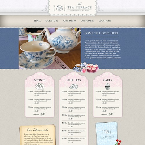 Full website design for our vintage English tearooms.
