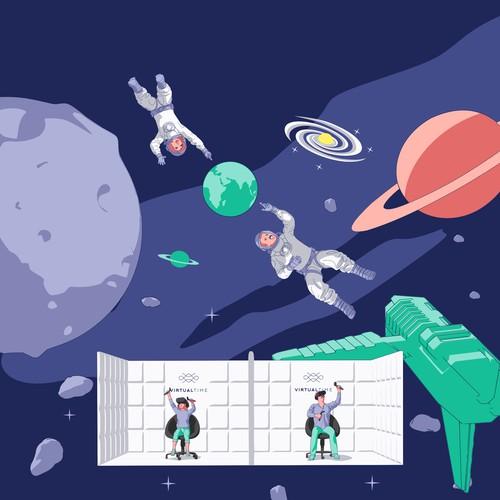 Space Adventure Illustration for VR Promo Website