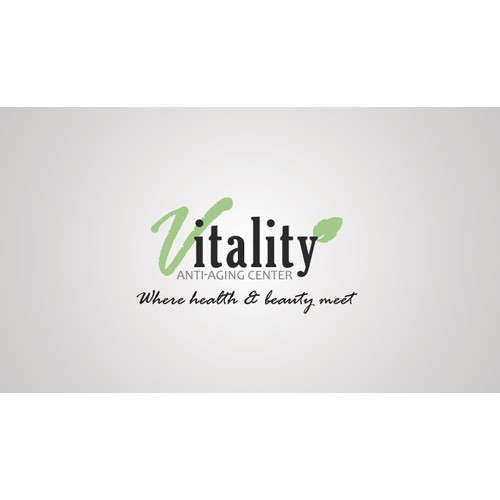 Create the next logo for Vitality Antiaging Center (V in vavaldi) and (itality) in amazone font or just V in vavaldi