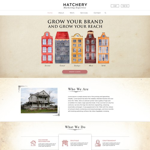 Landing page for Hatchery, a digital marketing company.
