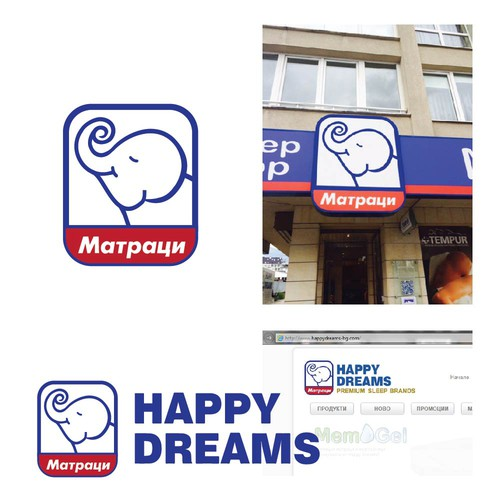Mattress company Happy Dreams logo redesign keeping same contours, elephant head and blue/red color.