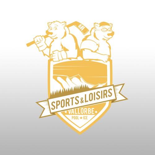 Logo vintage pour piscine et patinoire