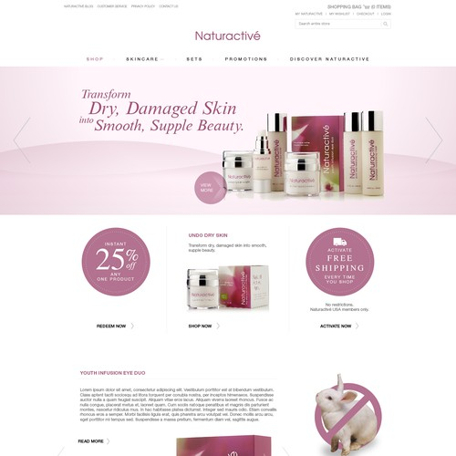 Website design for a cosmetic business
