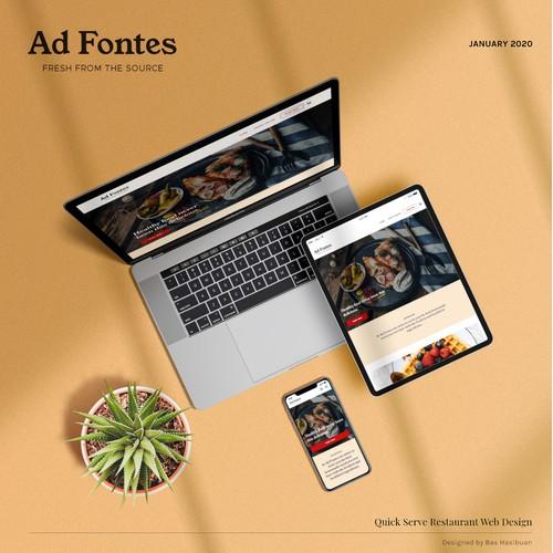 Website for a quick serve restaurant serving healthy food