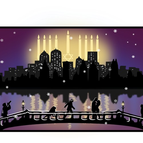 Illustration for Hanukkah Holiday Greeting Card
