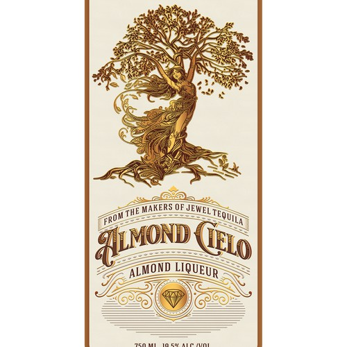 Eye Catching, Dreamy, Whimsical Label For Almond Liqueur Drink.