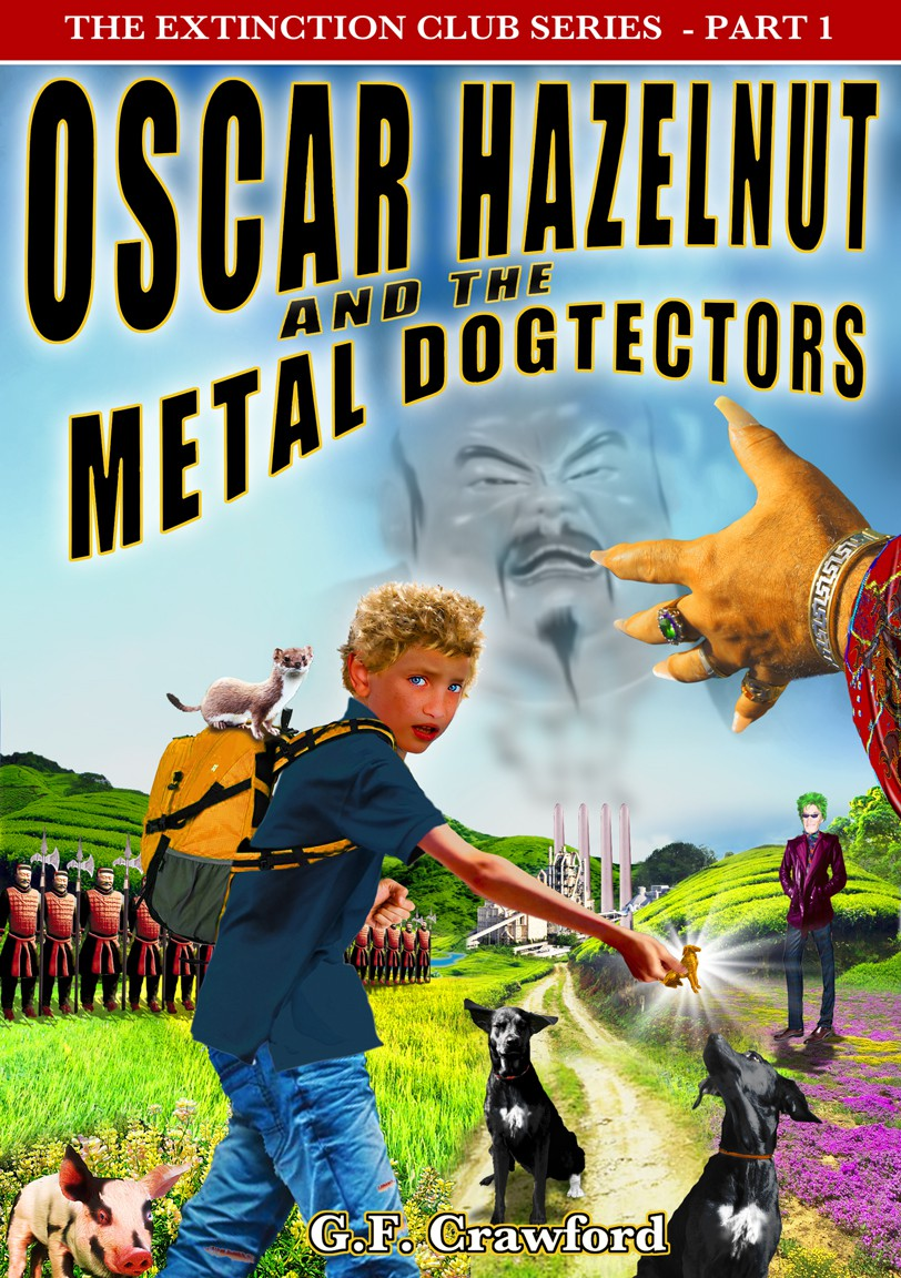 Create the next book or magazine cover for Oscar Hazelnut and the Dogtectors