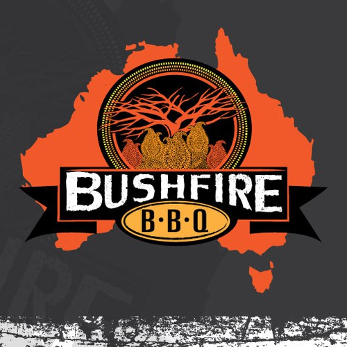 Team logo for an Australian competitive BBQ Team - Bushfire BBQ