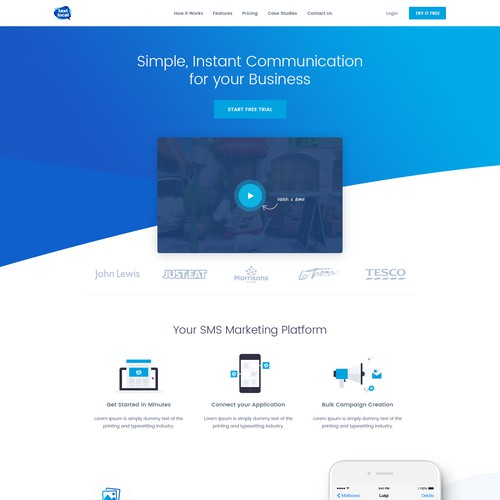 Signup page for Textlocal's Business Messaging Machine