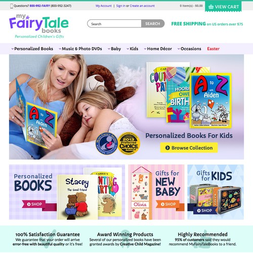 Homepage Hero Banner Design for MyFairyTaleBooks