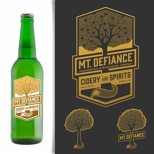 Create a distinctive but classic logo for Mt. Defiance Cidery